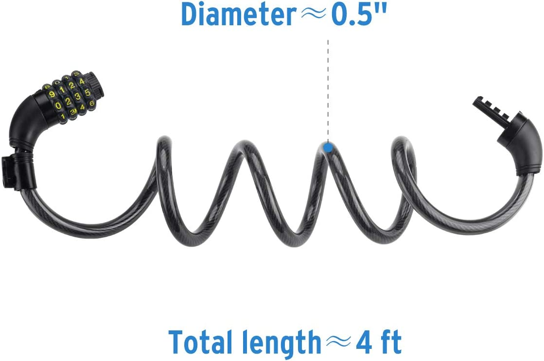 4 Feet Self Coiling Bike Cable Lock Fence DadyMart Bike Lock 1//2 Inch Diameter Gate 4-Digit Resettable Combination Lock with Mounting Bracket for Bicycle