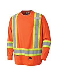 Pioneer V1051250-3XL Birdseye Long Sleeve Safety Shirt, Orange, 3X-Large