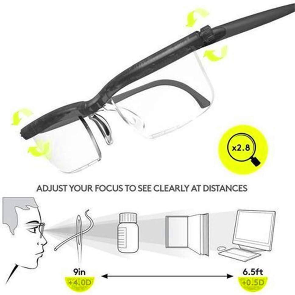 ZUZU Gafas Ajustables instantáneas 20/20 con Caja de Gafas Transparentes - Gafas Ajustables Unisex Visión instantánea 20/20 Lentes 4 una Vez sin Receta Lectura Lentes de conducción