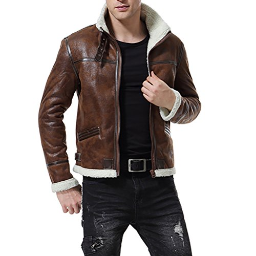 AOWOFS Men's Faux Leather Jacket Brown Motorcycle Bomber Shearling Suede Stand Collar