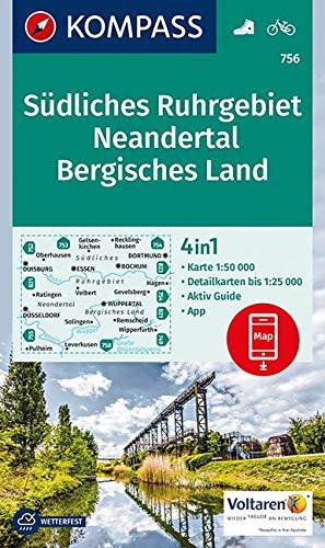 Südliches Ruhrgebiet, Neandertal, Bergisches Land: 4in1 Wanderkarte 1:50000 mit Aktiv Guide und Detailkarten inklusive Karte zur offline Verwendung in ... (KOMPASS-Wanderkarten, Band 756)