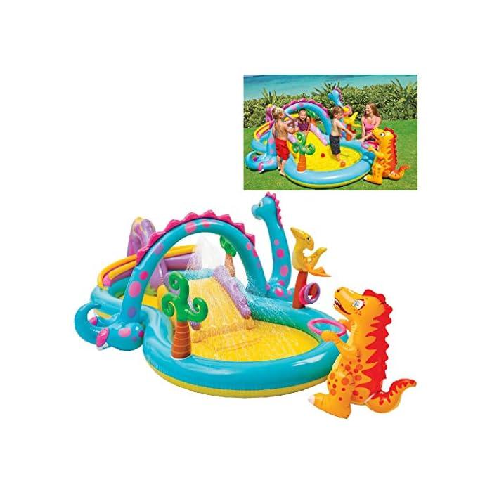 51vDatbrG3L Centro de juegos acuático hinchable Dinoland con zona de piscina, tobogán y figuras hinchables, medidas: 333 x 229 x 112 cm y capacidad para 280 litros/agua Tobogán hinchable con base acolchada y barreras laterales, figuras hinchables en forma de dinosaurio, anillas hinchables, rociador de agua y bolas de colores Incorpora 6 bolas de colores variados para deslizarlas por la bajada del volcán y 2 anillas hinchables para jugar a lanzarlas al poste hinchable que lleva