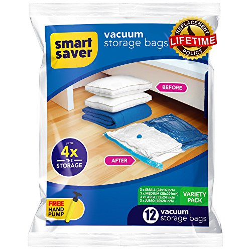 Bigtime Ent SmartSavers Ziplock Vacuum Storage Bags, Reusable Space Saver Bags for Clothes, Comforters, Blankets, Pillows, Bedding Packing (12 Variety Pack) -