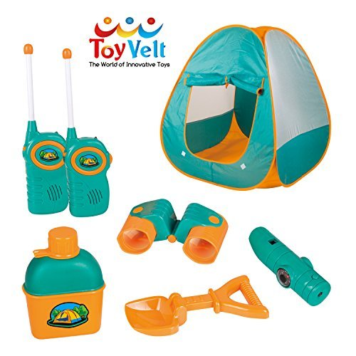 Piece Set Camping 12 (12 Piece Kids Tent Camping Set – Includes Big Tent, Telescope, 2 Walkie Talkies,Water Bottle, Shovel, Multifunctional Whistle, Compass, Flashlight, Thermometer - For Boys & Girls age 3 - 12 yrs old)