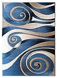 Cheap Sculpture Modern Area Rug Design 258 Blue (8 Feet X 10 Feet 6 Inch)