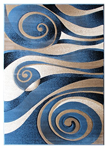 Modern Area Rug Sculpture 258 Blue (5 Feet 2 Inch X 7 Feet 3 Inch) (Blue Rug Brown Area And)
