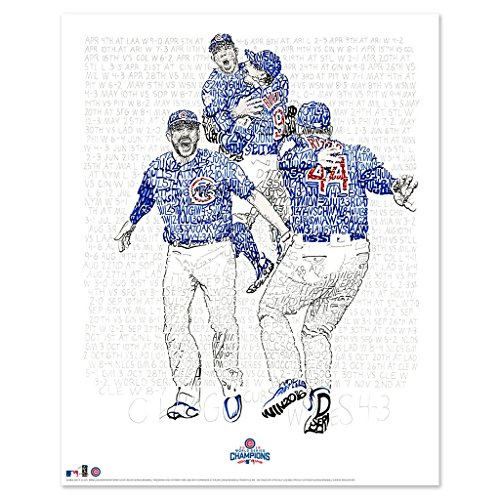 (2016 Chicago Cubs Word Art - Handwritten Every Date Score from 2016-16x20 - Cubs Poster - Chicago Decor)