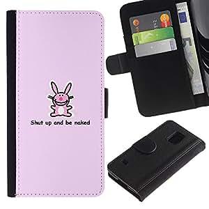 SHELLINA (No Para S5 Mini) Foto Voltear Cuero Duro Funda Ranura Tarjeta TPU Carcasas Para Smartphone Samsung Galaxy S5 V SM-G900 - conejito rosado - divertido lindo