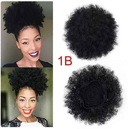 Synthetic Short Afro Ponytails for Black Hair YEBO African American Curly Pony Tail Hair Pieces(1B) (Natural Curly Hairstyles For African American Hair)