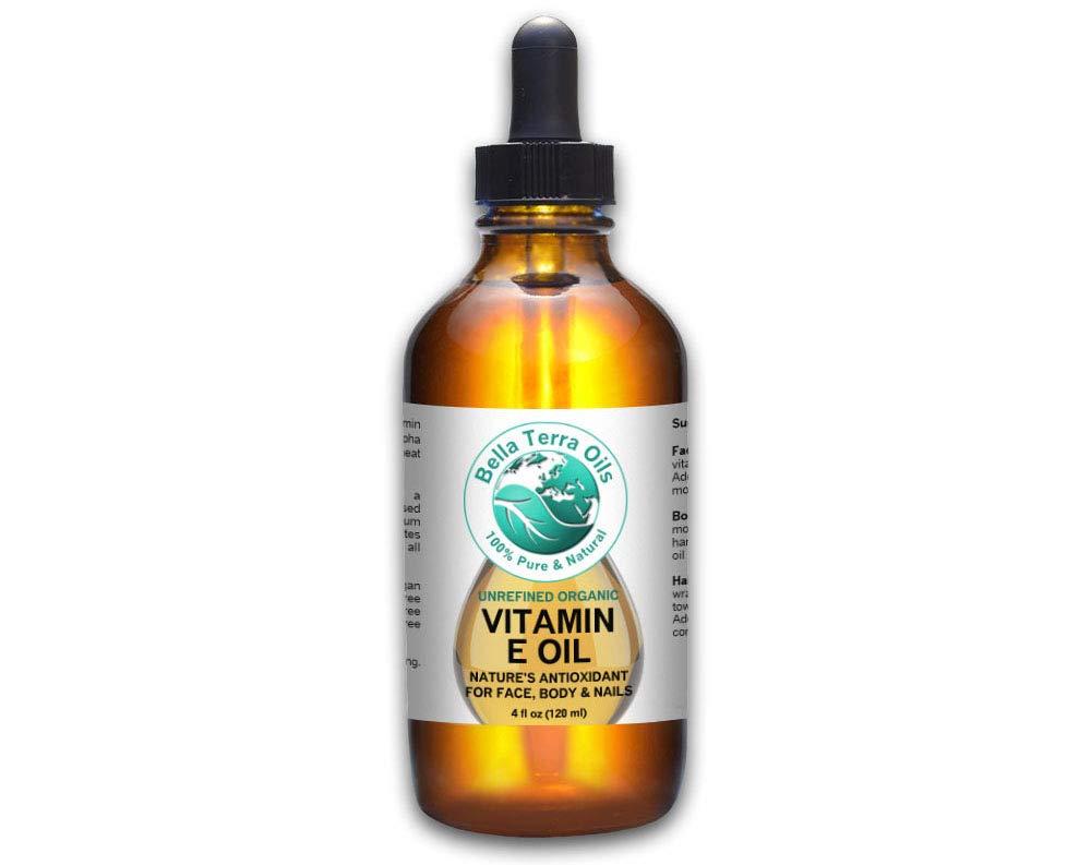 SALE - Vitamin E Oil 4oz. D-alpha Tocopherol. Organic. Premium. 100% Pure, Max Strength 75,000 IU. Anti-Aging. Antioxidant. Treats Scars, Wrinkles, Dark Spots. For Hair, Skin, Nails - Bella Terra Oils by Bella Terra Oils