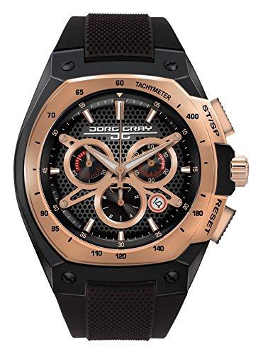 Jorg Gray JG8300-21 Black Gold Patterned 3 Hand Mens Wrist Watch by Jorg Gray