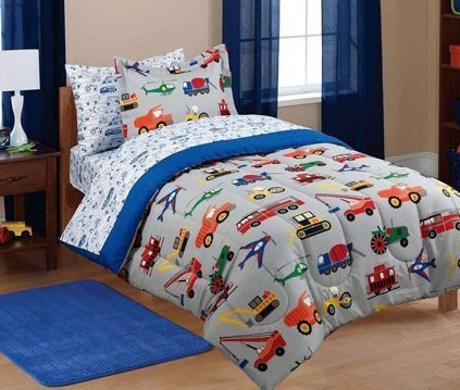 7pc Boy Blue Green Red Car Truck Transportation Full Comforter Set (7pc Bed in a Bag) (Kids Bedding Transportation)