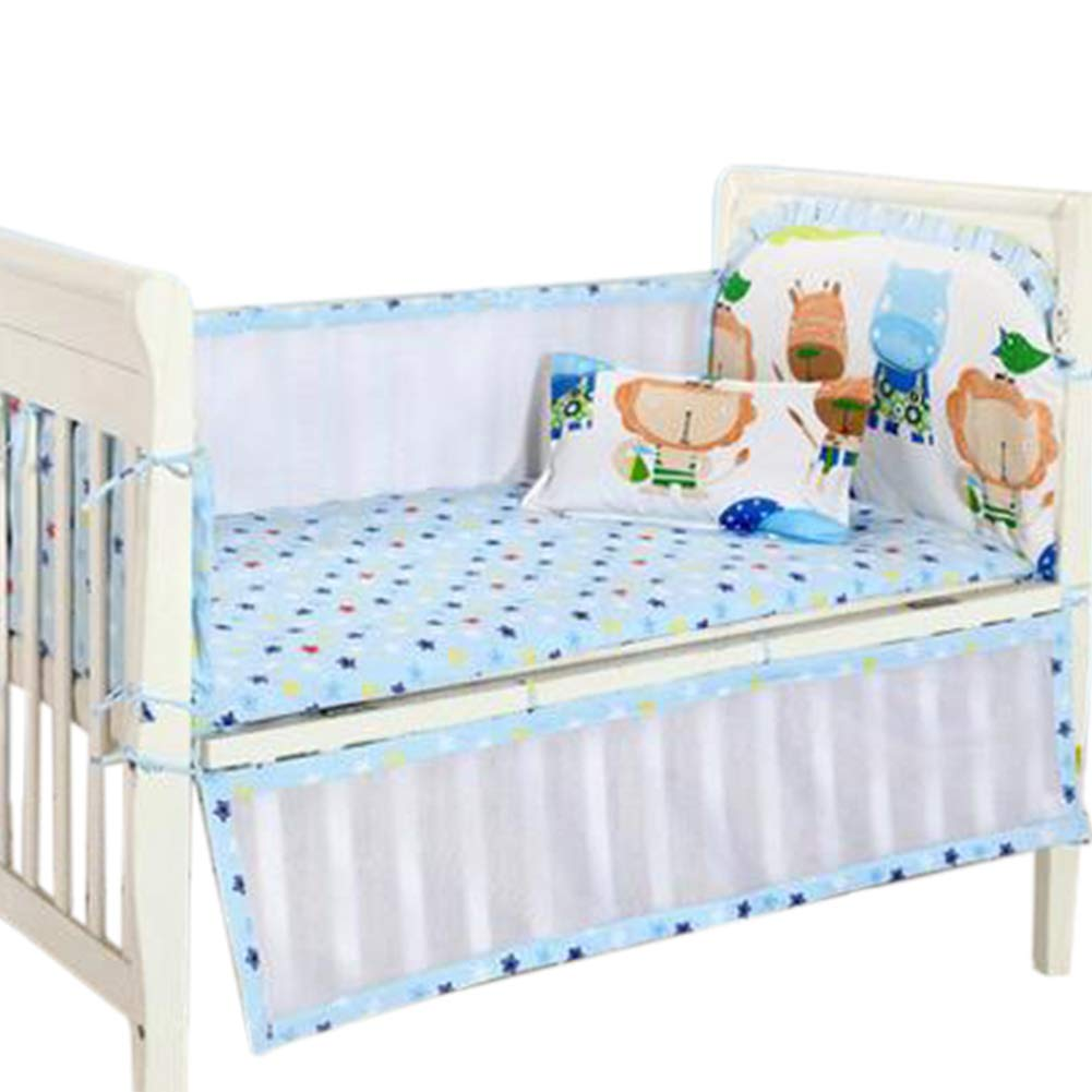 Cotton Baby Pillow Protective Fence Anticollision Washable Blue Infant Shining Newborn Crib Bumper 4 PCS Baby Bed Bumper