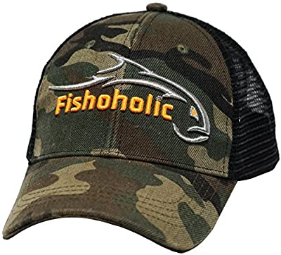 Fishoholic R Baseball Fishing Hat - Bend Your Rod. Fishaholic Flexfit or Camo Trucker Snapback - Regular or 3D/Puff - Bend Your Rod you USPTO Registered Trademark (R)