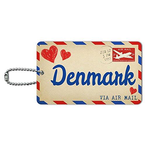 Denmark Postcard - Air Mail Postcard Love for Denmark ID Tag Luggage Card Suitcase Carry-On
