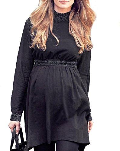 Mujer Con o largo vestidos de costura para blusas de túnicas de - 20 10 tamaños de cama en Reino Unido negro