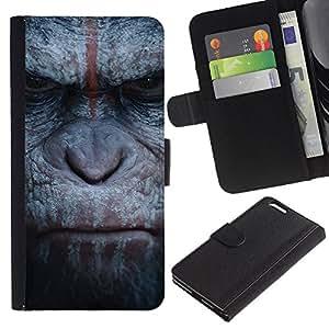 BearCase / Cuero de la tarjeta la carpeta del tirón Smartphone Slots Protección Holder /// Apple Iphone 6 PLUS 5.5 /// Mono del gorila Primado de Animales Naturaleza