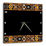 3dRose dpp_76556_3 Brown and Black African Pattern Art of Africa Inspired by Zulu Beadwork Geometric Designs Wall Clock, 15 by 15″
