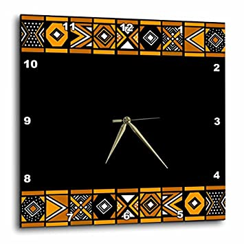 3dRose DPP_76556_3 Brown and Black African Pattern Art of Africa Inspired by Zulu Beadwork Geometric Designs Wall Clock, 15 by 15