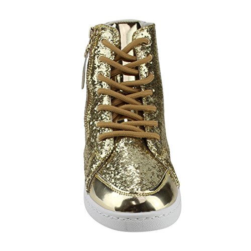 Forever Link Mujeres Hi Top Glitter Lace Up Botines Fitness Trainer Zapatillas Moda Oro
