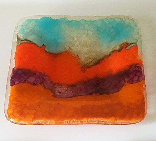 Copper Metallic Accent Art Glass Decorative Bowl in Southwestern Colors