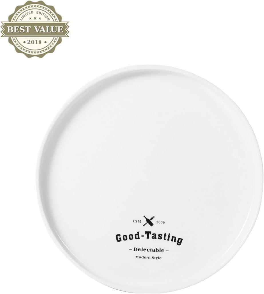 Platos platos platos llanos letra simple inglesa disco de cerámica Continental Plato de desayuno Plato de carne Verduras Plato de cocina cubiertos bandeja: Amazon.es: Hogar
