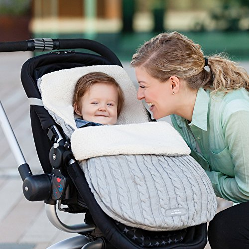 JJ Cole - Knit Bundleme Set, Blanket Cover to Protect Baby from Cold Weather with Car Seats and Strollers, Graphite, Birth to 1 Year by JJ Cole (Image #5)
