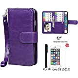 iPhone SE/iPhone 5 5S Wallet Case,xhorizon TM SR Premium Leather Magnetic Detachable Folio Phone Case with Multiple Card Slots for iPhone SE(2016)/iPhone 5 5S with a 9H Tempered Glass Film -Purple
