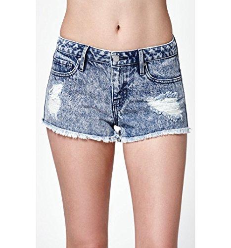 Bullhead Denim Co. Womens Blue Rider Acid Wash Low Rise Cutoff Denim Shorts