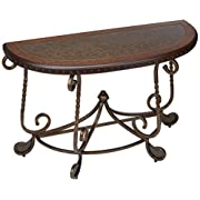Ashley Furniture Signature Design - Rafferty Sofa Table - Traditional Style Entertainment Console Table - Semi Circle - Dark Brown