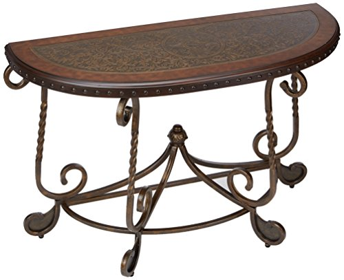 - Ashley Furniture Signature Design - Rafferty Sofa Table - Traditional Style Entertainment Console Table - Semi Circle - Dark Brown