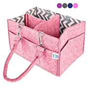 Colorful Baby Diaper Caddy – Nursery Storage Caddy and Car Organizer Bin – Easily Holds Diapers, Wipes, Toys | Baby Shower Gift for Newborn and Moms – Portable Tote Travel Diaper Bag (Perfectly Pink)