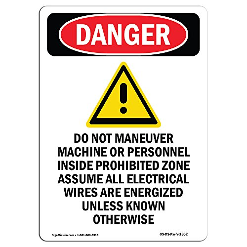 OSHA Danger Sign - Do Not Maneuver Machine | Choose from: Aluminum, Rigid Plastic Or Vinyl Label Decal | Protect Your Business, Construction Site, Warehouse & Shop Area |  Made (1862 First Issue)