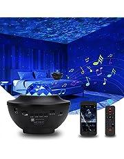 sterrenhemel projector, sterrenlamp, sterrenhemel met bluetooth, timer, afstandsbediening en muziekspeler, roterende watergolven, led-sterrenlamp, voor kinderen en volwassenen, kamerdecoratie