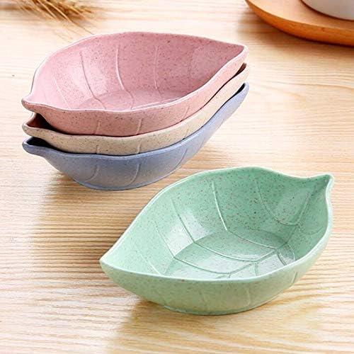 Piatto Giapponese Contenitore di alimento da tavola Romote 4pcs Mini Foglie DishKid Bowl Paglia di Grano Salsa di soia Piatto di Riso Bowl Piastra Sub
