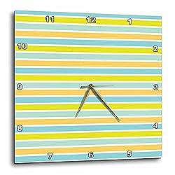 3dRose Anne Marie Baugh - Patterns - Contemporary Green, Peach, and Aqua Bold Stripes - 10x10 Wall Clock (dpp_282926_1)