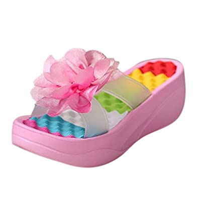 9dd8723b2dff Sonnena Summer Sandals Platform Flip Flops Slippers Sandals Swing Wedge  Women Hole Shoes Pink