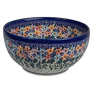 Traditional Polish Pottery, Handcrafted Ceramic Salad Bowl (1500ml), d.19cm, Boleslawiec Style Pattern, M.704.Daisy