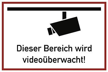 Aufkleber Dieser Bereich Wird Videoüberwacht Folie Selbstklebend 20x30cm Videoüberwachung überwachungskamera Praxisbewährt Wetterfest
