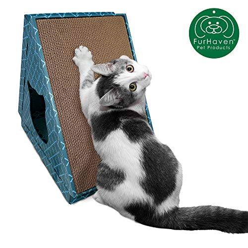 Furhaven Pet Cat Furniture | Tiger Tent Corrugated Cat Scratcher Cardboard Condo Hideout Pet House w/ Catnip for Cats & Kittens, Teal, One Size