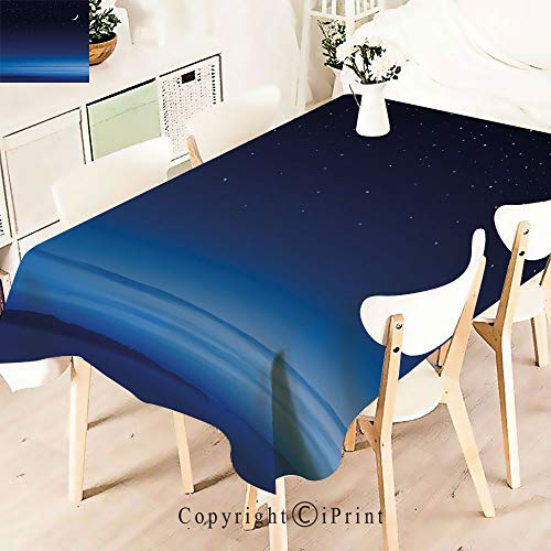 - Polyester Water Resistant Tablecloth Stars Over Santa Barbara Channel Infinityfor Vintage Washable Table Cloth Dinner Kitchen Home Decor,W55 xL83,Dark Blue Sky Blue White