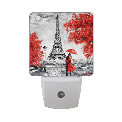 - Naanle Set of 2 Paris Eiffel Tower Couple Autumn Maple Leaf Auto Sensor LED Dusk to Dawn Night Light Plug in Indoor for Adults