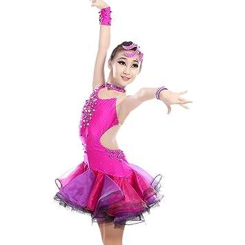 GBDSD Disfraz de Bailar Niños niña siamesische Latin Dance Competencia Ropa Sociedad Danza Pieza Rock Adulto para Ropa Infantil, Color Rose, ...
