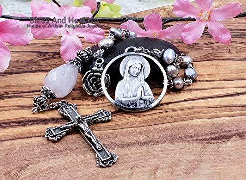 (Blessed Virgin Mary Lourdes Grey Pearls Rose Quartz Sterling Tenner One Decade Rosary Chaplet Love Joy Loyalty Prosperity Harmony)