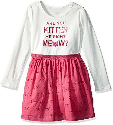 The Children's Place Girls' Long Sleeve Casual Dresses, Glamorous 80069, 2T]()