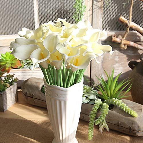 Juesi Calla Lily Bridal Wedding Bouquet Lataex Real Touch Artificial Flower Home Party Decor, 5pcs A Bouquet