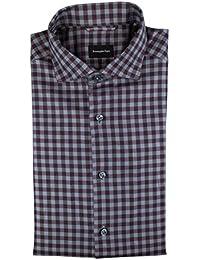 Burgundy/Gray Check Cotton Casual Shirt Size M