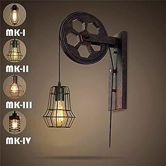 SUNWE Industrial Retro Iron Wall Lamp Creative Personality Lift Pulley Wall Lamp (MK-II)