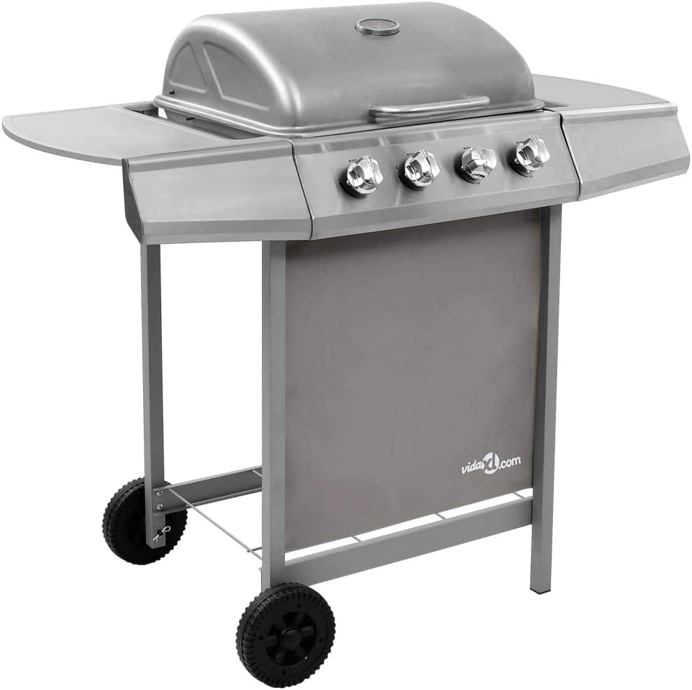 Goliraya Gas BBQ Grill with 4 Burners Garden Party Barbecue Black and Silver