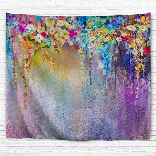 - BROSHAN Watercolor Flower Decor Tapestry, Purple Floral Tapestries Wall Hanging Room Bedroom Wall Art Fabric Colorful Abstract Wall Tapestry Blanket Home Decor, 52x60 Inch Long